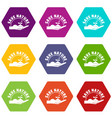 sprout hand icons set 9 vector image vector image