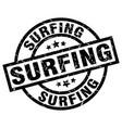 surfing round grunge black stamp vector image vector image