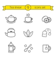 Tea linear icons set vector image