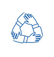 teamwork hand hands on each other working group vector image