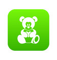 teddy bear holding a heart icon digital green vector image