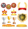 trophy awards cups golden laurel wreath with red vector image vector image