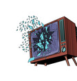 tv explodes broken screen vector image vector image