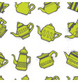 vintage tea pots seamless pattern vector image