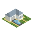 White isometric house with blue car isolated flat vector image vector image
