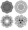 Set of 4 abstract floral symmetric laces vector image