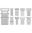 ancient column icon set outline style vector image vector image