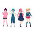 anime girls beautiful japanese manga schoolgirls vector image