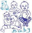 baby and teddy vector image vector image