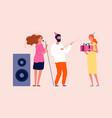 birthday party man woman congratulating their vector image vector image