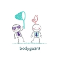 Bodyguard bird catches the butterfly net vector image vector image