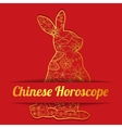 Chinese horoscope background with golden hare vector image vector image
