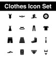 clothes icon set with glyph style in black solid vector image
