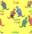colourful disco dinosaurs on the yellow background vector image vector image