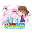 coronavirus protection with children cartoon vector image vector image