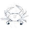 crab line art with air traps isolated on white vector image vector image