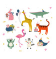 cute animals wearing party hats with birthday vector image vector image