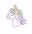 cute unicorn with floral wreath vector image vector image