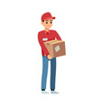 delivery man with box young courier in vector image
