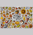doodle cartoon set of autumn items objects vector image