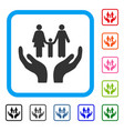 family care hands framed icon vector image vector image