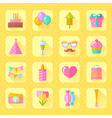 festive birthday flat icons set vector image vector image