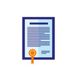 flat certificate icon vector image