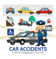 flat road accident template vector image vector image