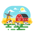 flat style of farm with cows vector image