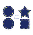 four assorted frames with various star patterns vector image