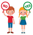 girl and boy showing signs yes and no vector image vector image