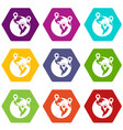globe and map pointers icon set color hexahedron vector image vector image