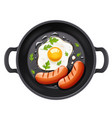 grilled egg and sausage vector image vector image