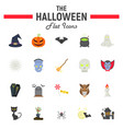 halloween flat icon set scary symbols collection vector image vector image
