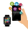 hand hold smartphone smart watch sharing vector image