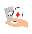 hand human with poker cards vector image vector image