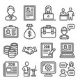 job and human resource icons set line style vector image vector image