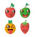 kawaii fruits cheerful collection vector image
