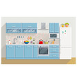 kitchen modern interior and furniture vector image vector image