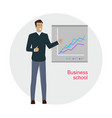 man standing near presentation screen with chart vector image vector image