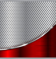metal perforated background with red chrome wave vector image vector image