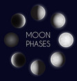moon phases night space astronomy whole cycle vector image