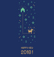 new year 2018 cross stitch dog banner pixel art vector image vector image