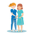 nurse taking care about people vector image