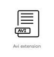 outline avi extension icon isolated black simple