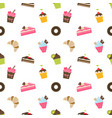 pattern with cupcakes and pieces of cake vector image vector image