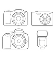 Photo camera flash silhouette icons vector image