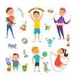 playground with funny characters of childrens vector image