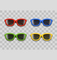 realistic 3d color sunglasses black lenses on a vector image