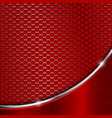 red metal perforated background with wave steel vector image vector image